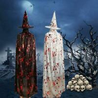 Adult Children Halloween Bloody Handprint Cloak with Witch Hat Cape Costume