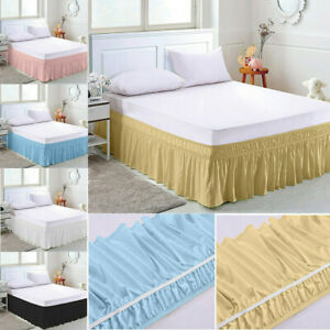 Elastic Bed Skirt Cover Hollow Ruffle Stretch Valance Fit Wrap Around King Queen