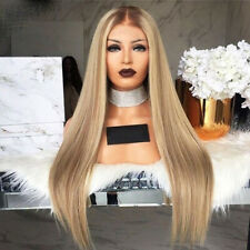 Women Heat Resistant Long Straight Wigs Ombre Synthetic Blonde Hair Party