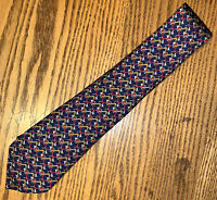 Men's Hermes 7039 TA Bugles & Squares Blue, Red, Yellow, White Silk Tie