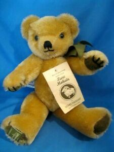 "Harrods MerryThought Hand Made Mohair Teddy Bear WIth Original Tags 11"" MINT"