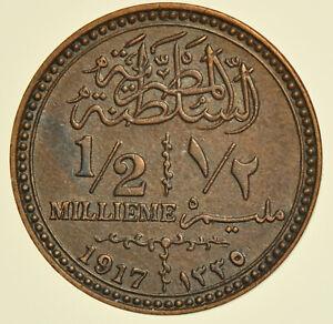 EGYPT BRITISH PROTECTORATE, SULTAN HUSSEIN KAMIL, ½ MILLIEME AH1335 (1917) COIN