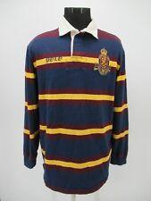 P5522 VTG Men's Polo Ralph Lauren Striped #8 Rugby Polo Shirt Size L