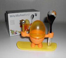 """WMF """" Willy Mia Fred """" Set 2 Orange/Gelb 1 Eierbecher McEgg unbenutzt OVP"""
