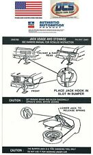 1972 Duster Dart Demon All Models Jacking Instructions Trunk Lid Decal 3585700