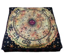 "35"" Square Floor Cushion Pillow Cover Large Zodiac Mandala Room Decorative Throw"