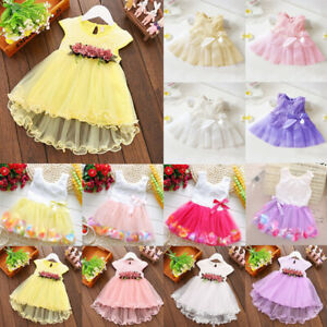 Cute Baby Girls Flower Tulle Dress Party Lace Mini Dress Bridesmaid Wedding Gown