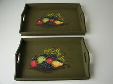 Holztablett Obst-Motiv Tablett-Set 2 Tabletts Frühstückstablett Landhausstil neu