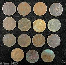 Japan 1 Sen Coin Japanese Taisho & Showa Emperor in Different 15 Years 1917-1938