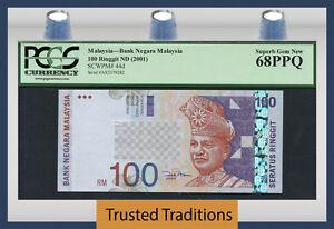"TT PK 44d 2001 MALAYSIA 100 RINGGIT ""T.A. RAHMAN"" PCGS 68 PPQ SUPERB TOP POP!"