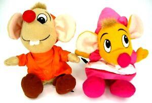 Lot/2 Disney Cinderella Plush Mice Jaq Suzy Mini Mouse Bean Bag Plush Kids Toy