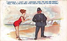 POSTCARD   COMIC   Seaside  Pretty  Girl  Policeman    Lodgings