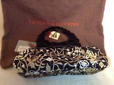 Beautiful NWT Victorio & Lucchino Black Jacquard Flowered Small Tote