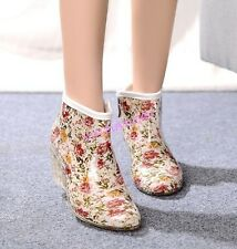 Womens Floral Korean Cute Wedge Heel Ankle Rain Boot Polka Dot Water Zip Summer