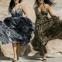 Summer Women's Sexy Spaghetti Strap V Neck Leopard Party Maxi Long Dress Rapture