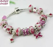 "Beautiful ""Butterfly Accent"" Murano Glass Beads Charm Bracelet"