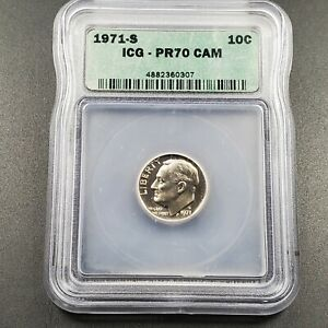 PROOF 1971 DIME PR70 CAMEO PERFECT GRADE ICG ROOSEVELT CLAD COIN
