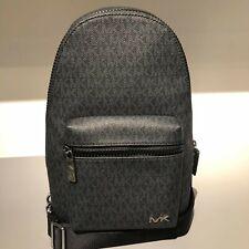 Michael Kors Mens Leather PVC Travel Sling Pack School Sport Backpack Bag Black