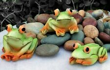 """3 piece Miniature Frog Set For Dollhouse or Fairy Garden New 1"""" Resin Pond Frogs"""