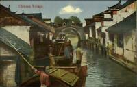 China Chinese Village River Homes Publ in Shanghai c1910 Postcard