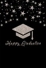 Happy Graduation Photography Backdrop Background Flash Gray Cap Stars Flash Sky