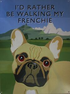 Walking Frenchie Metal Sign