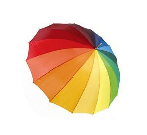 DUA Arc-en-Ciel Multicolore Golf Longueur Marche Parapluie Long