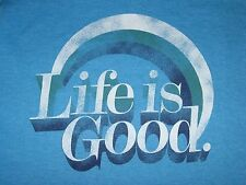 NWT Life is Good RAINBOW Bright Blue S/S V-Neck T-SHIRT Women M