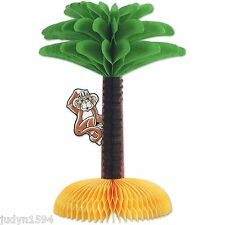 HONEYCOMB LUAU CENTREPIECE MONKEY IN PALM TREE PARTY TABLE DECORATION HAWAIIAN