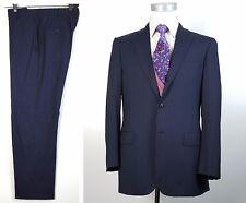 Belvest 40R Super 130s Canvassed Blue Striped Suit Flat Pants 34x30 3 Btn 2 Roll