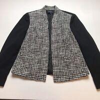 Evan Picone Size 6 Open Front Blazer Black White Metallic Tweed A328