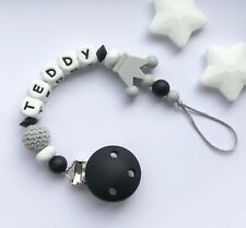 Personalised Dummy Clip - Silicone Clip - Pacifier Clip - Soother Clip - Black