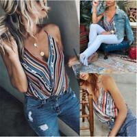 Womens Lady Sleeveless Floral Tank Tops T-Shirt Summer Beach Vest Blouse 6L
