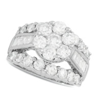Valentines Day  4 Ct Composite D VVS1 Cluster Wedding Ring In 14K White Gold