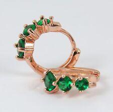 Women's 18 Carat Rose Gold Plated Green zircon small hoop Huggie earrings