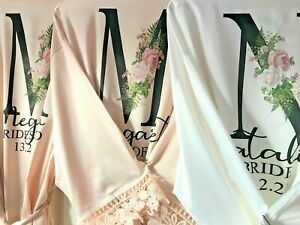 Personalised bridal robe, bride dressing gown, bridal satin lace dressing gown