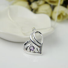 925 Silver Plated Fashion Women Purple Crystal Pendant Necklace Chain Jewelry Q7