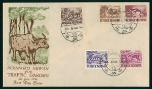 Mayfairstamps Indonesia 1956 Traffic Garden Animals Combo First Day Cover wwp993