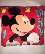 Disney Micky Mouse Red Velour Throw Pillow Numbers 1 2 3 14-15""