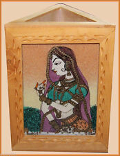 THREE GEMSTONE PAINTING ON A TRIANGLE PEN PENCIL HOLDER/STAND FROM INDIA!!