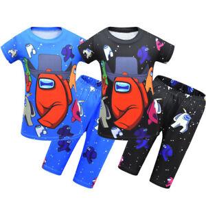 Junge Pyjama Schlafanzug Sommer Zweiteilige Nachtwäsche Kurzarm Pyjama