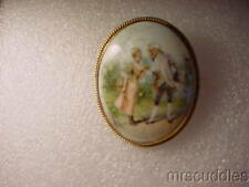 Unmarked Gold Pin Vintage Hand Painted Porcelain