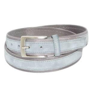 Cintura uomo bicolore grigio in pelle scamosciata e tela regolabile fibbia in ac