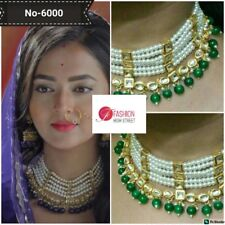 Indian Tv Actress Pahredaar Piya Ki Green & Pearl Choker  necklace & earring