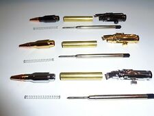 3 PACK Gold, Chrome, Gun Metal, Lock N Load Bullet Pen Kits w/bushings