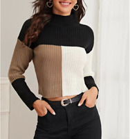 SHEIN Colorblock Rib-knit Long-Sleeve Sweater Womens Size S/4 -Black/Brown/White