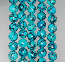 8MM BLUE TURQUOISE GEMSTONE AQUA BLACK SWIRLS ROUND 8MM LOOSE BEADS 16""