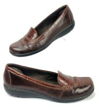 Clarks Women Size 8 M Loafer Shoes Bendables 35589 Croc Accent Brown Leather S1