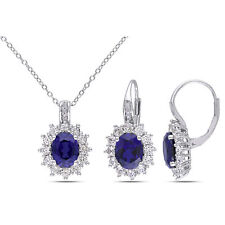 Amour Silver Created Blue and White Sapphire and Diamond Accent Set