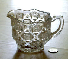 EAPG glass CREAM pitcher BRIDLE ROSETTES Westmoreland #500 Checkerboard 1910